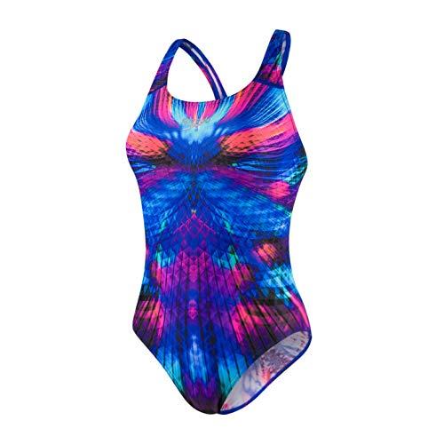 Speedo Damen Badeanzug Placement Digi Powerback, Mirage Shine/Windsor Blu, 32 (DE 36), 806187