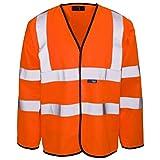 ShoppersBase Warnweste mit Klettverschluss, lange und kurze Ärmel, orange