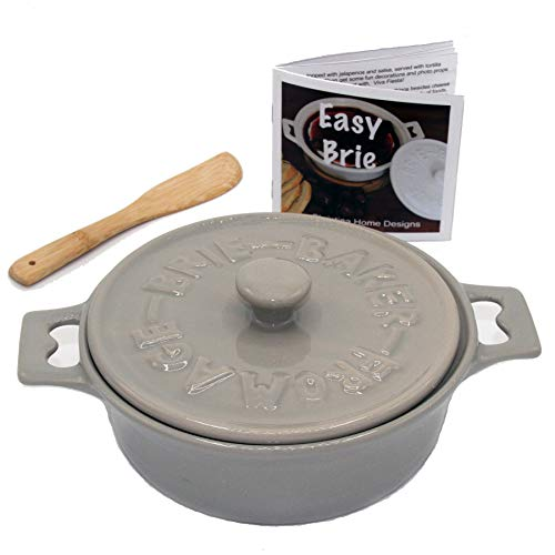 Gray Brie Baker and Camembert Baker with Cookbook. Brie Cooker comes with Spatula, Lid, Base and Cookbook. Brie Baking Dish is Microwave, Dishwasher and Oven Safe by Christina Home Designs.