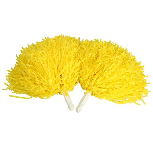 Tbest Cheerleading Pompons Poms, 4 Stück Blumen Cheerleader Pom Poms Pompoms Cheer Pom Poms Modische Cheer Kostüm Zubehör für Party Dance Sports(Gelb)