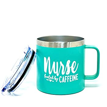 Nurse Cup Gifts - Nurse Coffee Mug Tumblers for Women - Double Walled Vacuum Sealed Stainless Steel 14 oz Tumbler  Nurse Fueled by Caffeine Teal