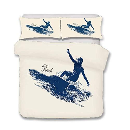 88888 - Juego de ropa de cama con estampado 3D, diseño de tabla de surf, color azul y blanco (estilo 2, individual 135 x 200 cm + 50 x 75 cm x 1)