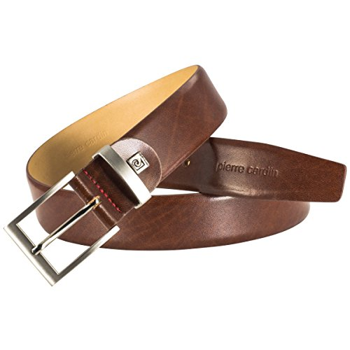 Pierre Cardin Mens leather belt/Mens belt, leather belt curved with metal loop, cognac, Größe/Size:95, Farbe/Color:marron