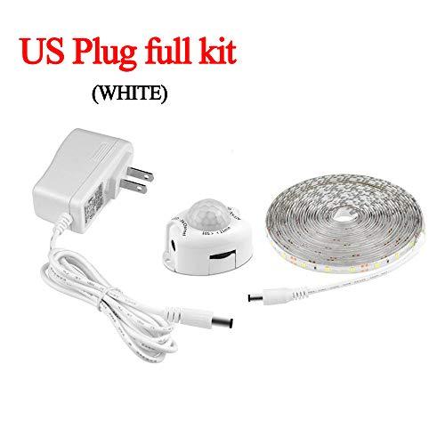 LED Light Strip, Draadloze PIR bewegingsmelder, 12V Automatisch aan/uit, geschikt voor Trap Kitchen Night Light 110V 1M 2M 3M 4M 5M (volledige set van de Amerikaanse stekkers),White 1m