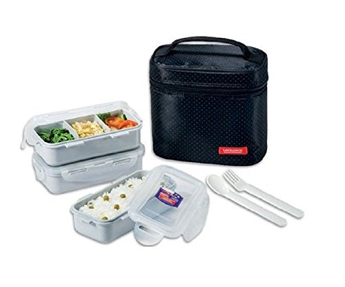 Lock & Lock Brotzeitbox Lunch Box Bento Set w/Chopstics - HPL754DB COMBO, Black