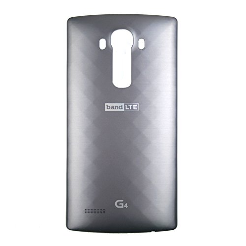 LG Leather Replacement Battery Rear Back Door Cover Case For LG G4, H815, H811, H810, VS986, VS999, US991, F500, LS991 -  Metallic Gray (Plastic)