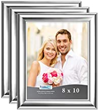 Icona Bay 8x10 Picture Frames (Silver, 3 Pack), Contemporary Photo Frames 8 x 10, Wall Mount or Table Top, Elegante Collection