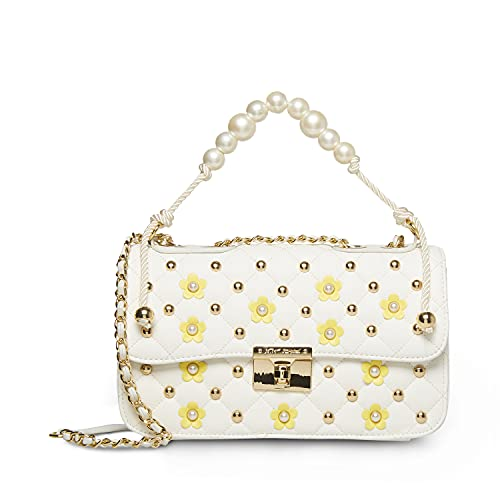 Betsey Johnson Pearl Swag Top Handle Crossody, White