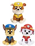 DHE Gund Paw Patrol Plush Stuffed Animal Bundle of 3 Characters, 9 inch Chase, Rubble and Marshall