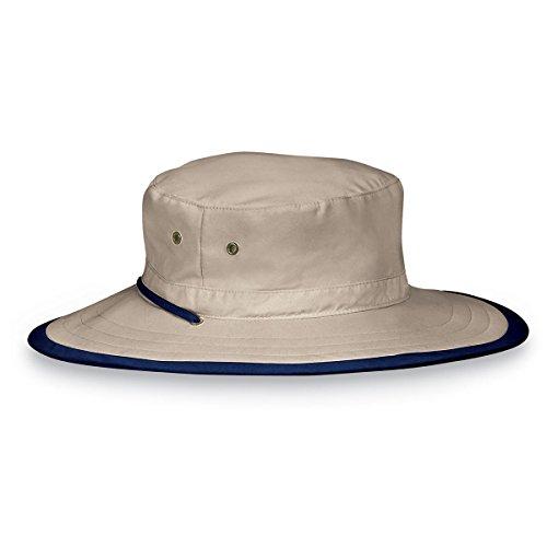 Wallaroo Hat Company Explorer Sun Hat – Natural - UPF 50+, Unisex, Ready for Adventure, Designed in Australia - Camel/Navy, Medium/Large