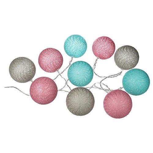 marque Atmosphera, créateur d'intérieur Guirlande Lumineuse Gris Rose Bleu 10 Boules LED à Piles