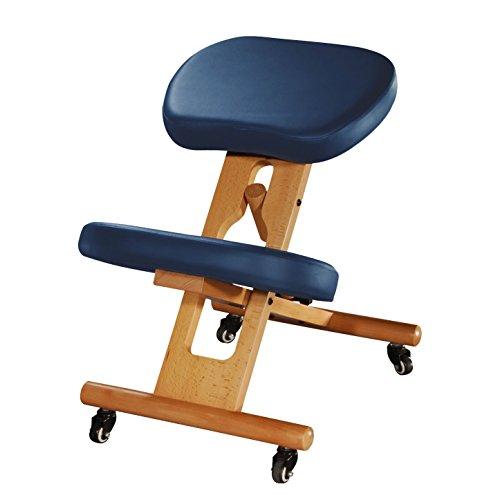 Ergonomischer Kniehocker, verstellbarer Stuhl aus Buchenholz mit Polsterung, Sitz und Kniepolster mit Kunstleder-Bezug, dunkelblau, Therapeutenhocker, gepolstert, Bürostuhl, PU-Bezug