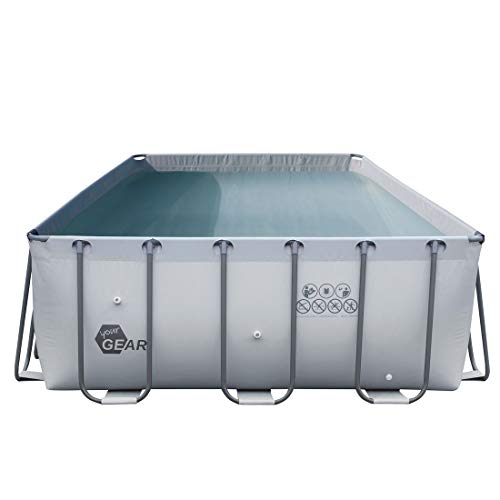 your GEAR XL Familien Pool Grau 3x3x1m Stahlrahmenbecken Gartenpool Stahlrohr Schwimmbecken Schwimmbad Planschbecken