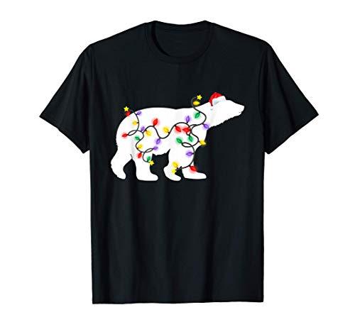 Polar Bear Christmas Lights Santa Hat Xmas Gift Boy Girl Kid T-Shirt