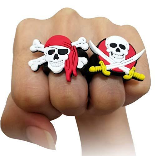 NUOBESTY Bague de Pirates en Silicone Crâne Motif Anneaux Doigts de Pirates Costume de Pirate pour Halloween Soirée de Pirate Accessoire 24 Pièces