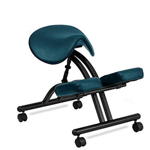Zadelzitting Zadel Ergonomische Knielstoel Verstelbare Bureaustoel Corrigerende Houding Stoel Ruggengraatcorrectiestoel Orthopedische Werkstoel Met Katrol,Green
