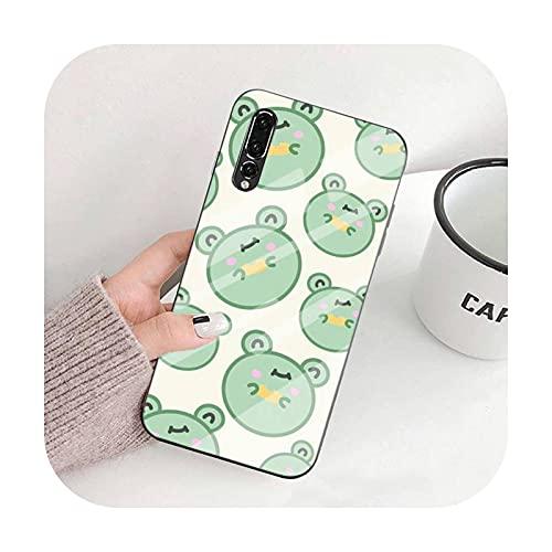 Happy-horse Cute Frog - Funda para teléfono compatible con Huawei P9 10 Plus 20 Pro 30 Lite Mate9 Honor 7A 8x 9 10 V10 Nove3i 5 Vidrio templado A7-Compatible con HUAWEI Mate9