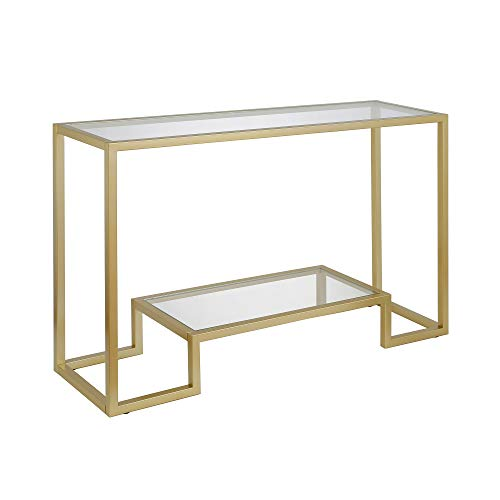 Henn&Hart Modern Entryway, Accent Glass Shelf for Hallway, Sofa Living Room, Easy Assembly Console Table, 1, Gold