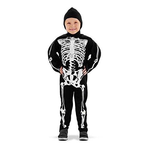 Folat 23681 - Disfraz de niño Creepy Skeleton 2 Piezas, negro (blanco), 6-8 años