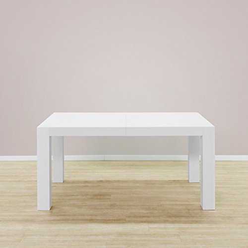 Table extensible mod. Adone Blanc frassinato Poro ouvert cm 160 x 90 cm hauteur 75 avec 2 allunghe de cm extensible 40 à 200 ou cm 240 cm en panneaux melaminico de haute qualité.Produit Italien.
