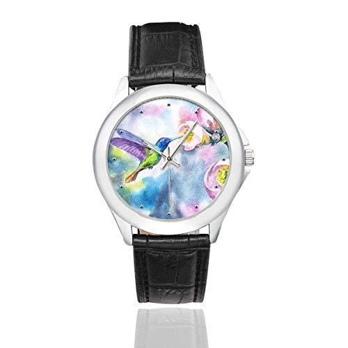 InterestPrint Watercolor Hummingbirds with Flowers Women's Waterproof Classic Leather Strap Watch, Black