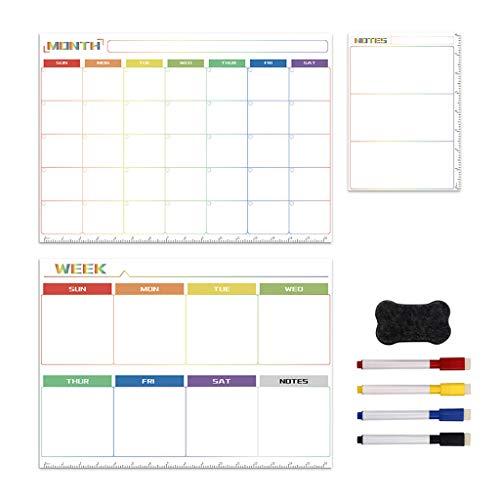 MISHITI Kit de Pizarra magnética Diario semanal planificador mensual Notas imán de Nevera Dibujo