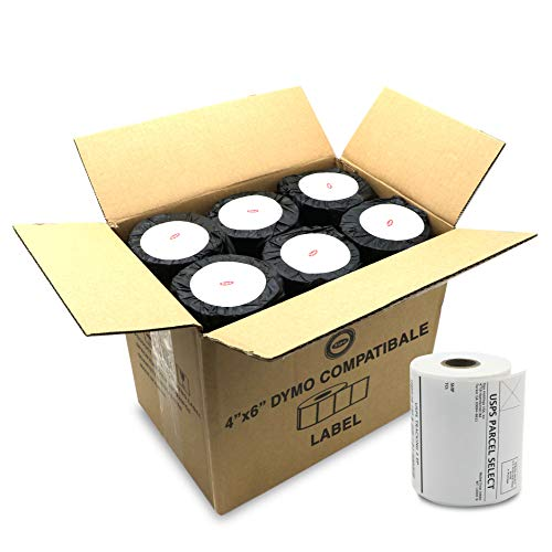 """SIPA 4"""" x 6"""" Thermal Shipping Labels Compatible with Dymo Label Writer 4XL Label Printer. Water & Grease Resistant, Ultra Strong Adhesive, Perforated, BPA Free, 220 Labels/Roll (12 Rolls, 2640 Labels)"""