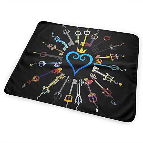 Hearts Keyblades United Kingdom Matelas à langer portable pour nouveau-né garçon et fille Voyage Matelas à langer réutilisable Respirant Anti-fuite pour nourrissons 25,4 x 31,5 cm
