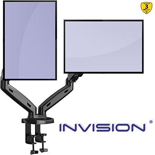 "Invision Soporte Monitor Doble PC Brazo - Gas Asistido Soporte para Escritorio Ajustable Ergonómico con Abrazadera para 17–27"" - VESA 75x75mm & 100x100mm - Peso 2-6.5kg (MX300)"