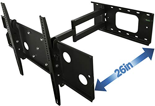 """Mount-It! Full Motion TV Mount, Articulating, for LCD/LED Wall Mount Bracket with Swing Out Arm for 32"""" - 60"""" Flat Screens, Up to VESA 750x450,175 lb Capacity, Black (MI-319B)"""