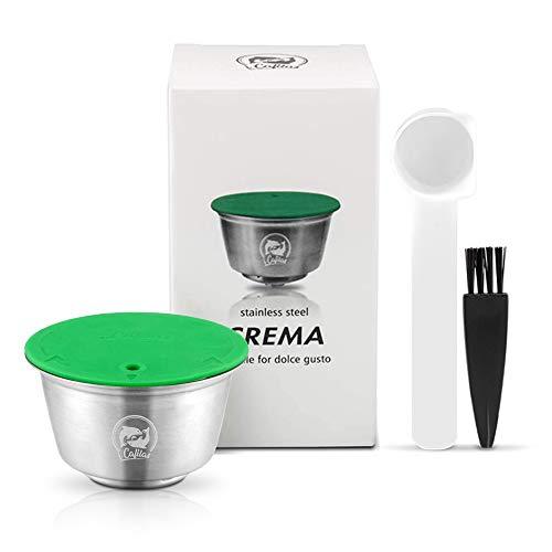 i Cafilas Dolce Gusto Cápsula de Café Reutilizable Recargable Dolce Gusto Filtro de Café Compatible para Dolce Gusto, con Cuchara de café, Cepillo (Cápsula)