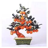 Planta Artificial Pequeño árbol de bonsái artificial Natural Jade Orange Tree Bonsai para la decoración interior de la oficina de la oficina de la oficina de la oficina de la oficina de la decoración