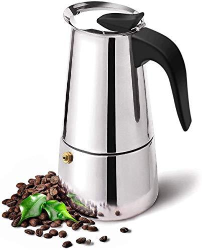 Papalita Cafetera italiana de acero inoxidable para cafetera espresso percolador, cafetera y moka, color plateado