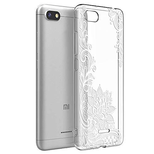 ZhuoFan Cover Xiaomi Redmi 6A, Custodia Cover Silicone Trasparente con Disegni Ultra Slim TPU Morbido Antiurto 3d Cartoon Bumper Case Protettiva per Xiaomi Redmi 6A (Fiore Bianco)