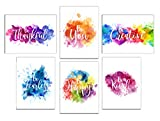 Colorful Abstract Paint Splats Inspirational Wall Art Prints (Unframed) | Set of 6 (8x10) (Option 1)
