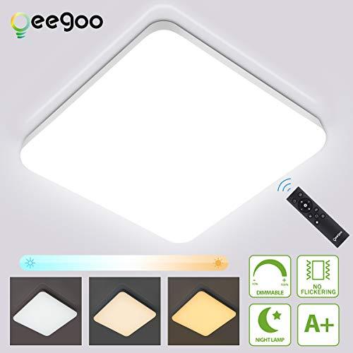 Oeegoo 36W Regulable LED de Luz de Techo Cuadrado, IP54 Impermeable Plafón, Lámpara de Techo LED de 3600 Lúmenes RA>80 (Cambio de temperatura de color por el interruptor: 3000K - 6000K)