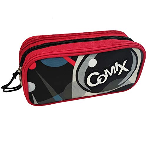Astuccio Scuola Comix Flash 3 Zip Vuoto Portapenne Colori 22,5x7,5x11 cm Rosso Nero