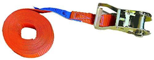 Zurrgurt 6 Meter 25 mm 1tlg. 400/800 kg mit Ratsche 90661 Spanngurt Packriemen Rödelband Zurrband Ladungssicherung scheuer- und abriebfest hergestellt nach aktueller Norm EN 12195-2, Farbe orange