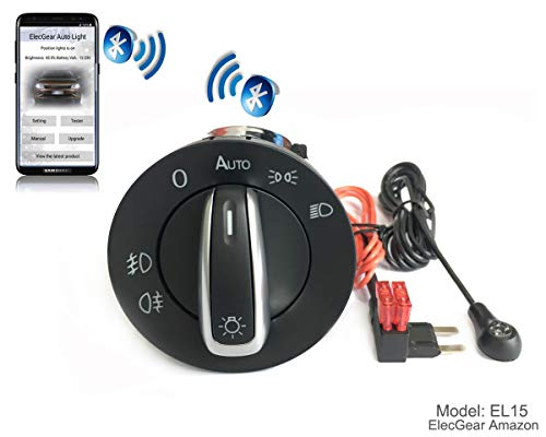 EL15 Auto Lichtsensor Bluetooth App Lichtschalter, KFZ Scheinwerferschalter Hauptlichtschalter Nebelscheinwerfer, Coming Leaving Home Modul – Touareg 2004-2010 mit 7L6941431