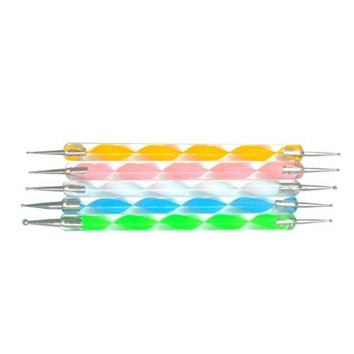 Fangfeen Nagellack Acryl-Feder-Anstrich-Punkt-DIY Nagel-Werkzeuge 5pcs / Set Doppel-Ended 2-Wege-Nail Art Punktierung Pens Drill Point Pen