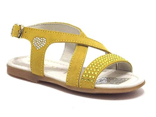Twin Set Scarpe Bambina, Modello HS56A3, Sandalo in camoscio con Strass, Colore Senape