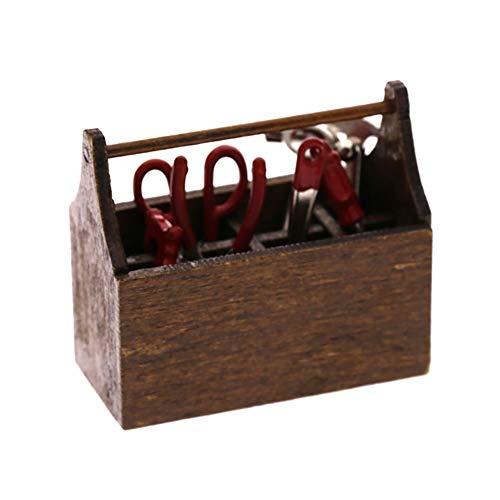 Kalaokei - Caja de madera en miniatura con colección de herramientas de metal para 1/12 decoración de casa de muñecas