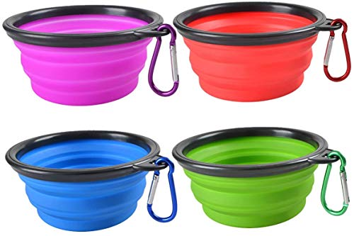 JPs Exchange Collapsible Dog Bowl, Portable and Foldable with Caribiner Clip for Travel (4 Pack)