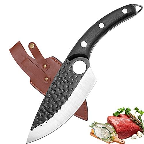 Akatomo Cuchillos para cuchillos de carne Cuchillo de chef forjado a mano Cuchillo para deshuesar con funda de cuero,Cuchillo de cocina Cuchillo de carnicero Cuchillo para pelar verduras para camping
