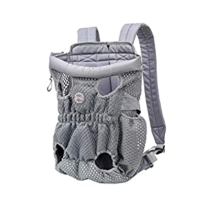 DuoLmi Pet Carrier Backpack, Adjustable Pet Front Cat Dog Carrier Backpack Travel Bag, Legs Out, Easy-Fit for Traveling Hiking Camping for Medium Dogs Cats Puppies (Below 22lb), Gray