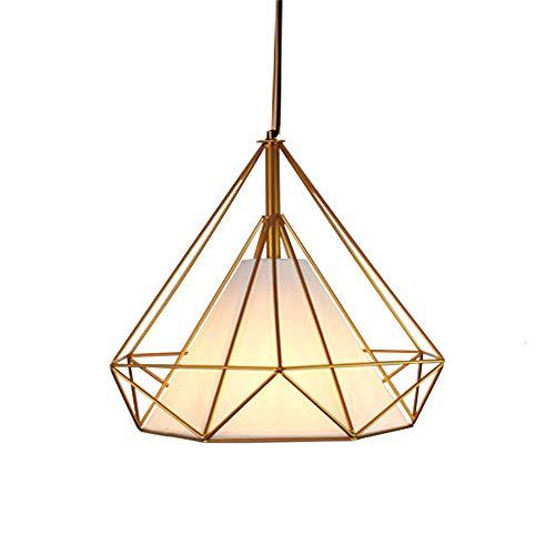 Gdtime Lámpara colgante E27 Moderna lámpara de techo Lámpara de aluminio para sala de estar Dormitorio Oficina Restaurante Cafe Bar Hotel Lámpara Comedor (Dorado-Blanco, 25CM)