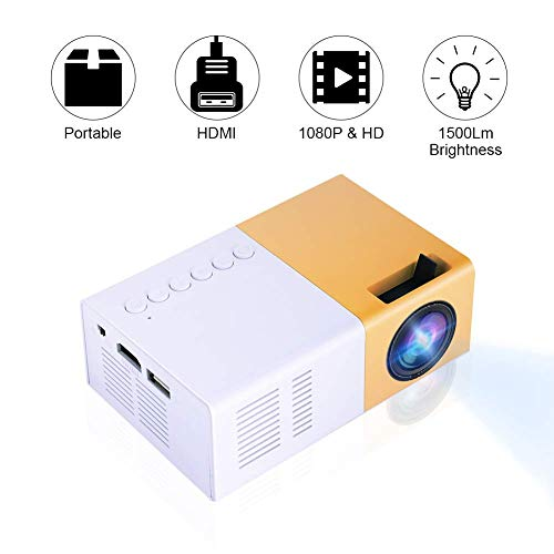 Tangxi Mini-LED-Projektor, LED-Heimprojektor 720P, 1080P 10 bis 60 Zoll HDMI-Multimedia-Schnittstelle 16: 9/4: 3 Videoprojektor Unterstützung HDMI, USB, AV, VGA, Micro SD (Weiß + Gelb)