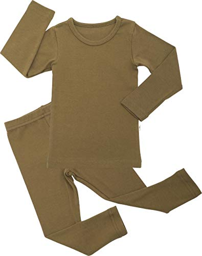 AVAUMA Baby Boys Girls Pajama Set Kids Toddler Snug fit Basic Cotton Sleepwear pjs for Daily (Olive-19 Small)
