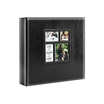 Lanpn Photo Album Self Adhesive, Sticky Photo Picture Albums Ring-Binder with Leather Cover and Magnetic Refillable Pages, Holds 3x5, 4x6, 5x7, 6x8, 8x10 Photos (30 Sheets / 60 Pages, Black)