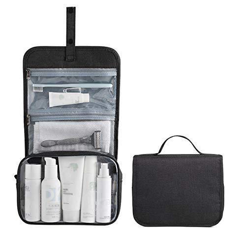 Confortabil Viaje portátil plegable maquillaje bolsas de aseo con gancho organizador Bolsas cosméticos bolsa impermeable (negro)